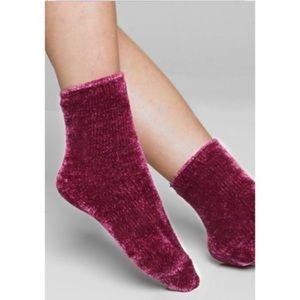 Wine burgundy chenille ultra soft socks